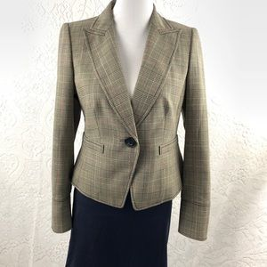 Ellen Tracy LIght Weight Wool Plaid Career Blazer